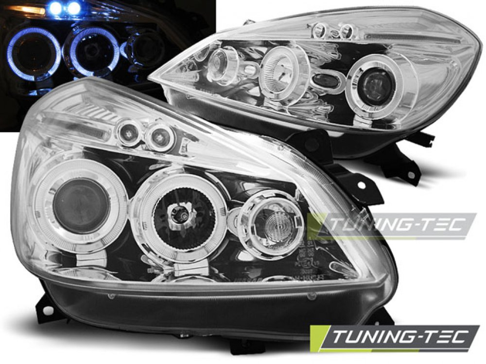 Фары передние LED Angel Eyes Chrome от Tuning-Tec на Renault Clio III