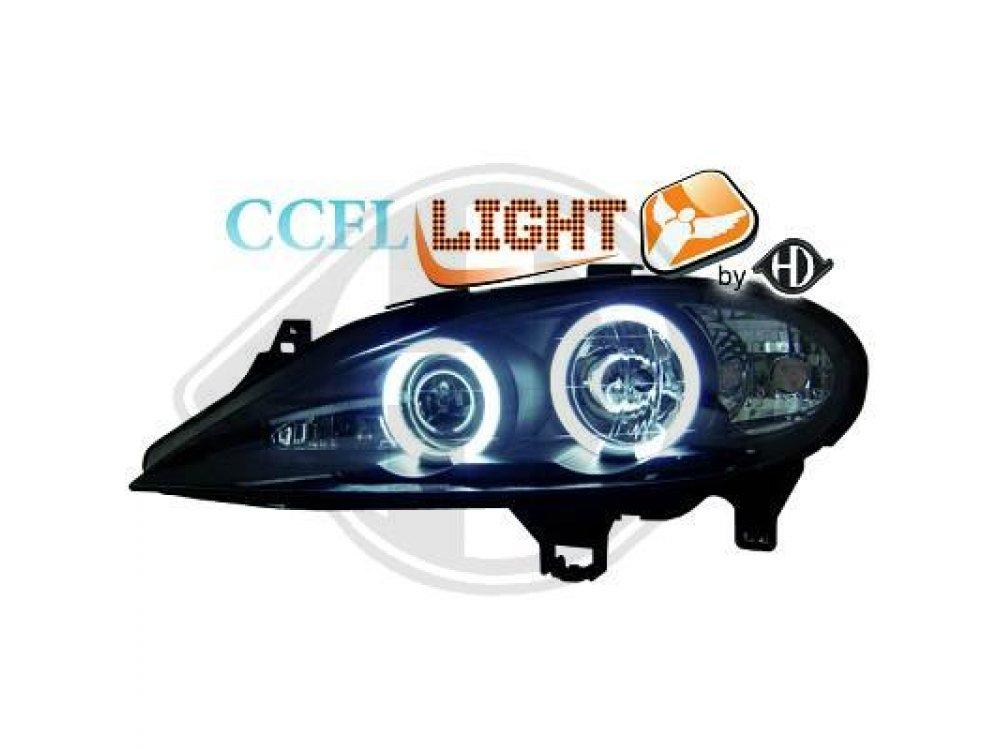 Фары передние CCFL Angel Eyes Black от HD на Renault Megane I рестайл