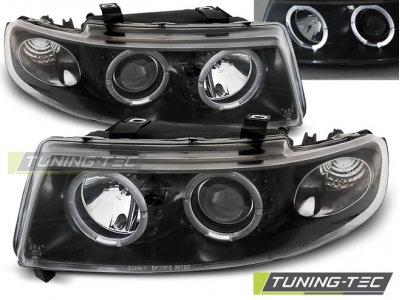 Передние фары LED Angel Eyes Black от Tuning-Tec на Seat Leon 1M