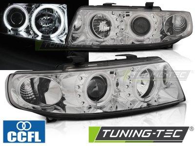 Передние фары CCFL Angel Eyes Chrome от Tuning-Tec на Seat Leon 1M
