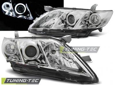 Фары передние Angel Eyes Chrome на Toyota Camry XV40