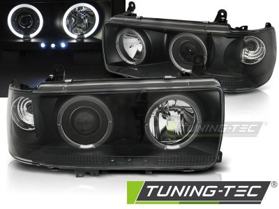 Передние фары Angel Eyes Black от Tuning-Tec на Toyota Land Cruiser 80