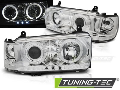 Передние фары Angel Eyes Chrome от Tuning-Tec на Toyota Land Cruiser 80