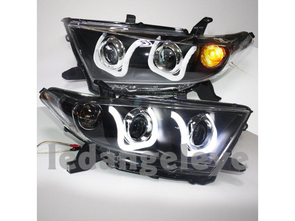 Фары передние Devil Eyes Black на Toyota Highlander II