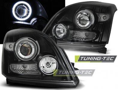 Фары передние CCFL Angel Eyes Black на Toyota LC Prado 120