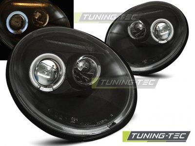 Фары передние Angel Eyes Black Var2 на VW Beetle