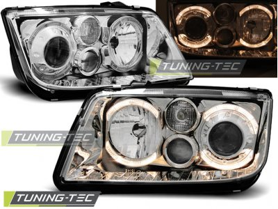Фары передние Angel Eyes Chrome Var2 от Tuning-Tec на Volkswagen Bora
