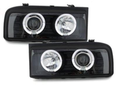 Фары передние Angel Eyes Black на Volkswagen Corrado