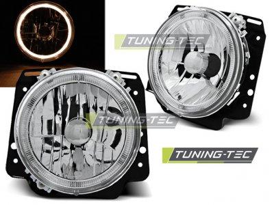 Передние фары Angel Eyes Chrome Var2 от Tuning-Tec на Volkswagen Golf II