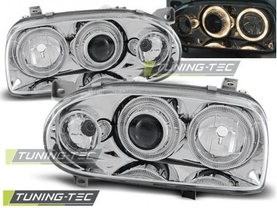 Передние фары Angel Eyes Chrome Var2 от Tuning-Tec на Volkswagen Golf III