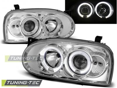 Передние фары LED Angel Eyes Chrome от Tuning-Tec на Volkswagen Golf III