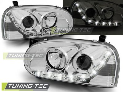 Передние фары Daylight Chrome от Tuning-Tec на Volkswagen Golf III