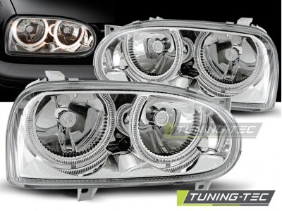 Передние фары Angel Eyes Chrome от Tuning-Tec на Volkswagen Golf III