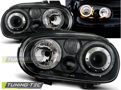 Фары передние Angel Eyes Black от Tuning-Tec на VW Golf IV