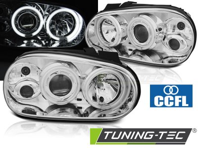 Фары передние CCFL Angel Eyes Chrome от Tuning-Tec на VW Golf IV