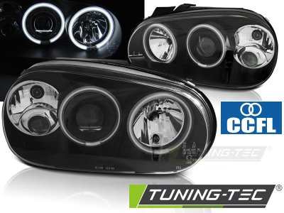 Фары передние CCFL Angel Eyes Black от Tuning-Tec на VW Golf IV