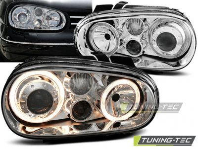 Фары передние Angel Eyes Chrome от Tuning-Tec на VW Golf IV