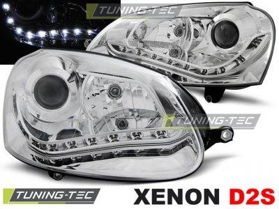 Фары передние Devil Eyes Chrome от Tuning-Tec на Volkswagen Golf V XENON