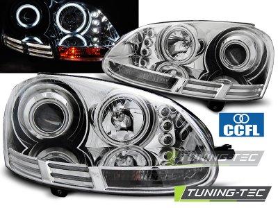 Фары передние CCFL Angel Eyes Chrome на Volkswagen Golf V