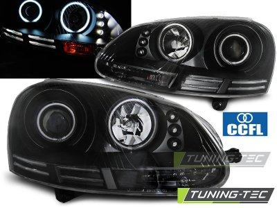 Фары передние CCFL Angel Eyes Var2 Black на Volkswagen Golf V