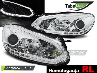 Фары передние Tube Light Chrome на Volkswagen Golf VI