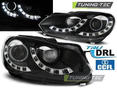 Фары передние CCFL Angel Eyes Black на Volkswagen Golf VI
