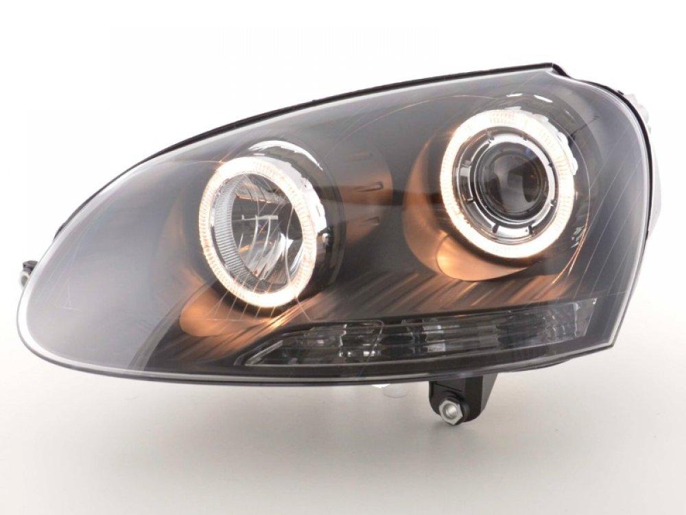 Фары передние Angel Eyes Black Var2 на VW Jetta V