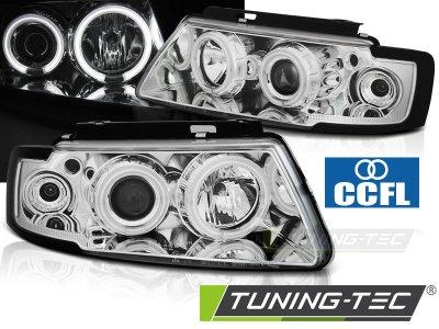 Фары передние CCFL Angel Eyes Chrome V2 на VW Passat B5 3B