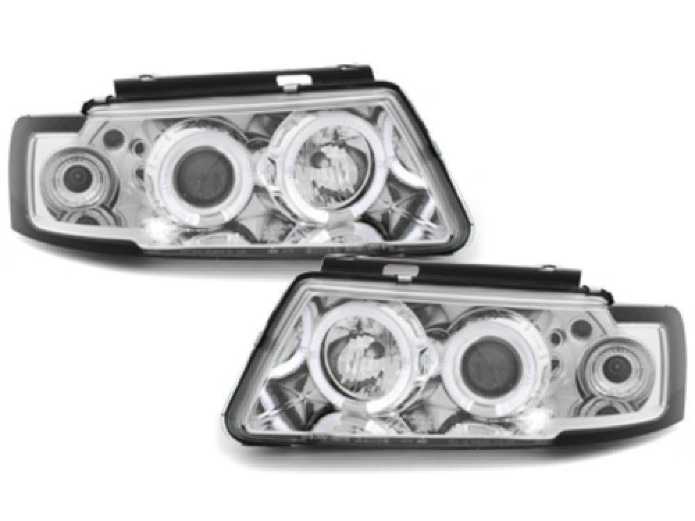 Фары передние LED Angel Eyes Chrome на Volkswagen Passat B5 3B