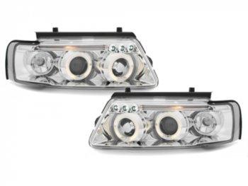 Фары передние LED Angel Eyes Chrome Var2 на VW Passat B5 3B