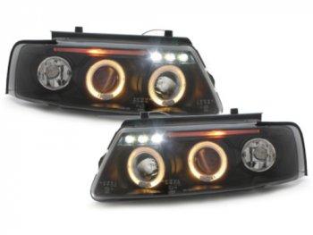 Фары передние LED Angel Eyes Black Var2 на VW Passat B5 3B