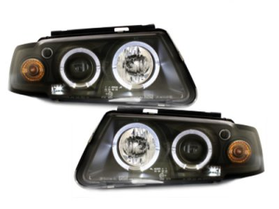 Фары передние LED Angel Eyes Black на Volkswagen Passat B5 3B