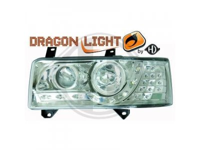 Фары передние Dragon Light Chrome на Volkswagen T4