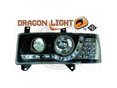 Фары передние Dragon Light Black на Volkswagen T4