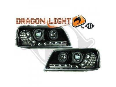 Фары передние Dragon Light Black на Volkswagen T5