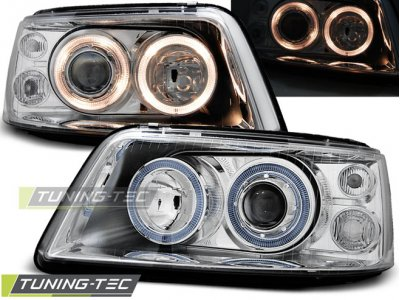 Фары передние Angel Eyes Chrome на Volkswagen T5