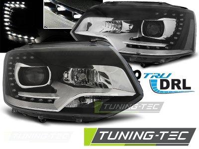 Фары передние Devil Eyes Black Var2 на Volkswagen T5 рестайл