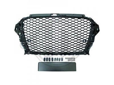 Решётка радиатора RS3 Look от HD Black под датчики парковки на Audi A3 8V