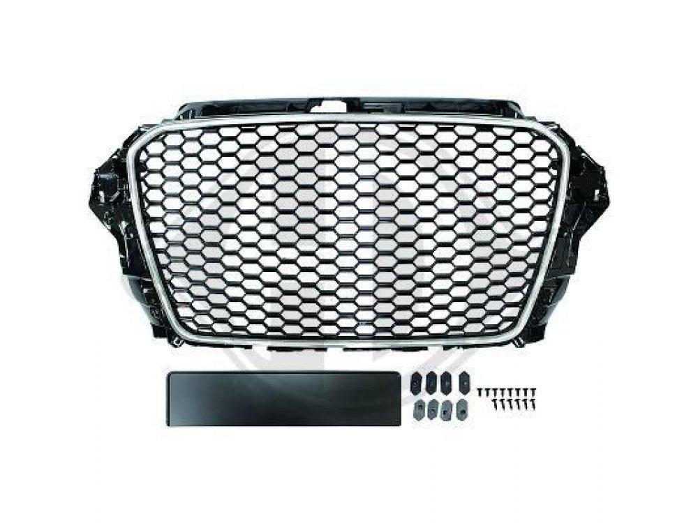 Решётка радиатора RS3 Look от HD Black Chrome под датчики парковки на Audi A3 8V