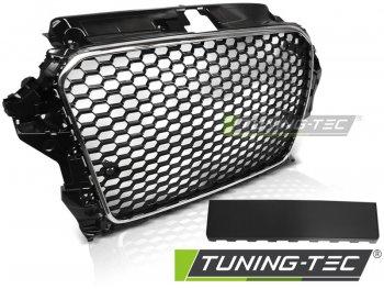 Решётка радиатора Black Chrome RS3 Look от Tuning-Tec под датчики парковки на Audi A3 8V