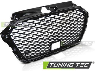 Решётка радиатора Glossy Black RS3 Look от Tuning-Tec под датчики на Audi A3 8V рестайл