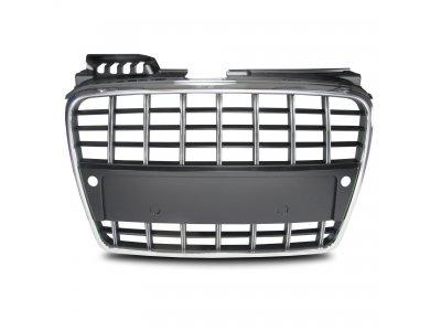 Решётка радиатора от Jom Black Chrome S-Line стиль под парктроники на Audi A4 B7