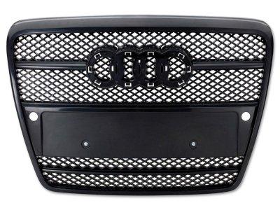 Решётка радиатора от FK Automotive Black под парктроники и кольца на Audi A6 C6