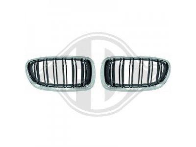 Решётка радиатора от HD M5 Look Black Chrome на BMW 5 F10 / F11 рестайл