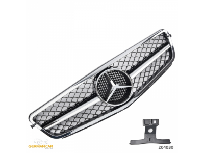 Решётка радиатора в стиле AMG C63 Look Black Chrome на Mercedes C класс W204