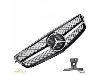Решётка радиатора в стиле AMG C63 Look Black Chrome Var2 на Mercedes C класс W204