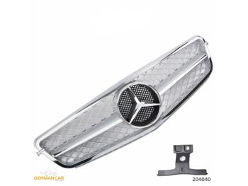 Решётка радиатора в стиле AMG C63 Look Silver Chrome на Mercedes C класс W204