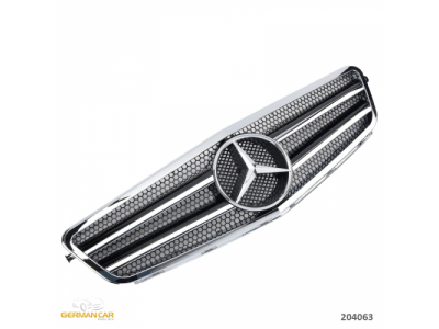Решётка радиатора в стиле AMG C63 Var2 Black Chrome на Mercedes C класс W204