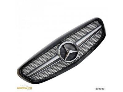 Решётка радиатора в стиле AMG С63 Black Silver на Mercedes C класс W205 Elegance / Classic