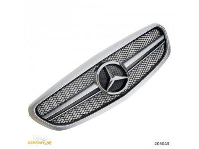 Решётка радиатора в стиле AMG С63 Silver на Mercedes C класс W205 Elegance / Classic